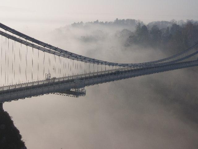 Clifton Suspension Bridge in winter mist