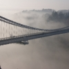 Clifton Suspension Bridge in winter mist