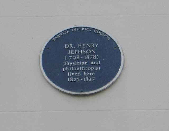 Plaque on Henry Jephson's house.