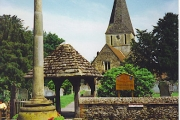 Shere - War Memorial, Lych Gate and Church.