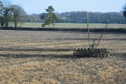 Cultivator in field of stubble