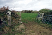 Gate and cross, Downs Barn farm