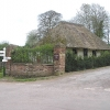 Thatched house at entrance to Halswell House