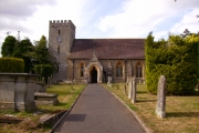 A close up view of Titley church and graveyard