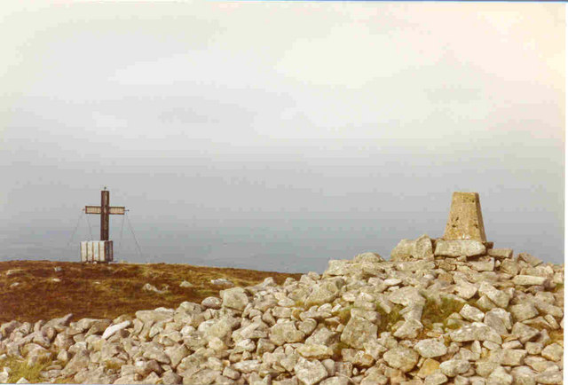 Trig point and cross at the summit of Brandon Hill