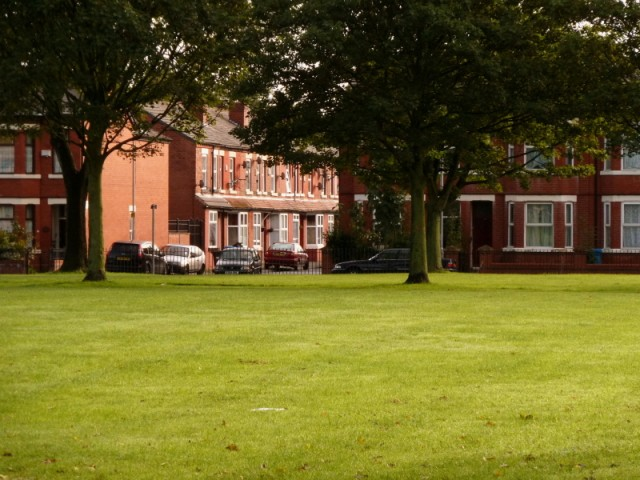 Millenium Park and Broadfield Road in Moss Side, Manchester